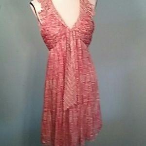 BCBG Max Azria S Coral gathered silk midi dress